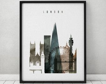 London art poster, watercolor print, Travel Wall art, London skyline, UK, England, city art, wall decor, wall prints, gift, ArtPrintsVicky