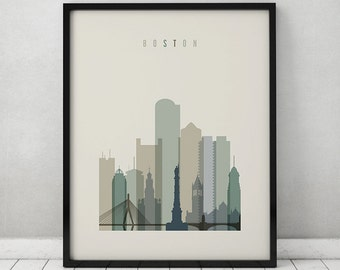 Boston print, Poster, Wall art, Boston Massachusetts skyline, City poster, Typography art, Home Decor, Digital Print, ArtPrintsVicky.