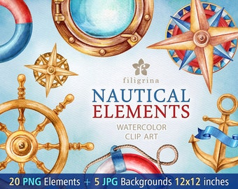 Nautical WATERCOLOR 20 clip art elements 5 backgrounds. Fishnet, porthole, anchor, buoy, compass, marine rope knot, ribbon. Read about usage