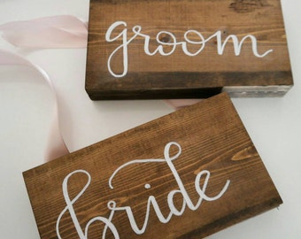 Wedding Chair Signs, Wedding Chair Sign, Rustic Chair Signs, Rustic Wedding Chair Sign, Bride & Groom Signs, Bride and Groom Sign