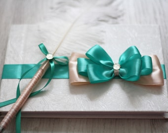 Peach Mint Handmade Wedding Guest book + Ostrich Feather Pen \ Mint Bridal Journal \ Peach Sign in Book \ Blank Empty Guest Reception book