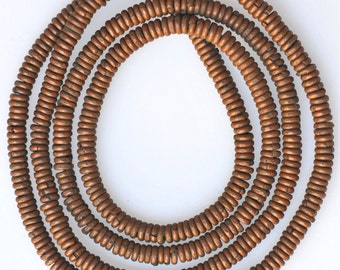 Old African Metal Heishi Beads from Kenya - 4mm Copper - 24 Inch Strand