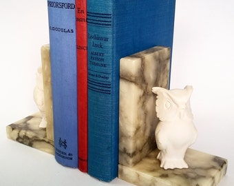 Vintage Alabster Marble Owl Bookends, Italy Alabster, Hand Carved Book ends
