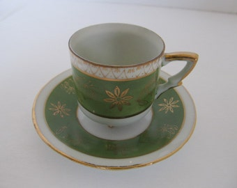 INARCO Demi Cup and Saucer - Green Motif c. 1960s