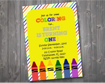 Colorful Crayon Invitation, Colorful Birthday Invitation, Birthday Party Invitation, Birthday Invitation