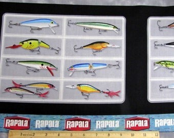 Rapala Fishing Lures Fabric Panel From Quilting Treasures