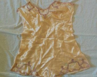 1950 peach lingerie slip or teddy  (last pic for true shade)