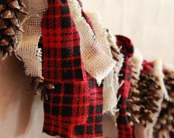 Lumberjack birthday, woodsy birthday, Rustic, plaid flannel, burlap and pine cone garland