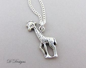 Giraffe Necklace, Silver Giraffe Pendant, Giraffe Charm Necklace, Silver Charm Necklace, Silver Necklace, Trendy Necklace