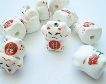 """5 porcelain beads wink Cat #3 """"Maneki Neko"""""""