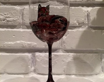 Handpainted Kitty Wine Glass (1)