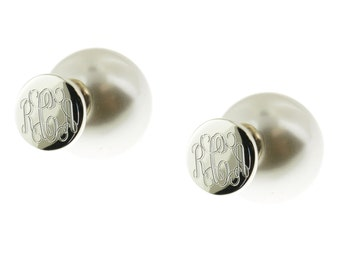 925 Sterling Silver and Freshwater Pearl Double Sided Stud Monogram Earrings