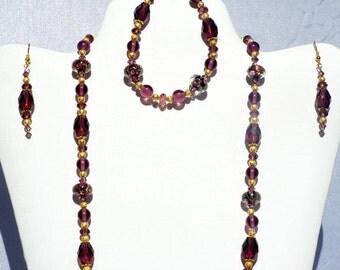 Beaded Jewelry Set, Purple Flower Lampwork Necklace, Lampwork Jewelry Set