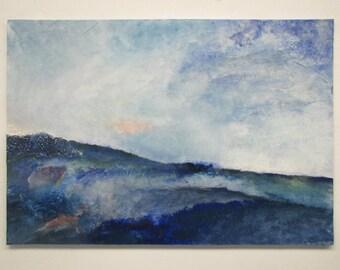 Contemporary art, Lanscape, original painting, wall art, abstract painting, wall hanging, blue painting,