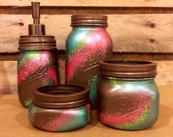rustic office decor. office mason jar set bronze coral and teal desk rustic decor