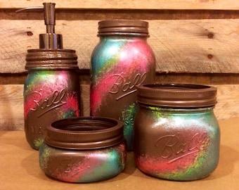 rustic office decor. office mason jar set bronze coral and teal desk rustic decor