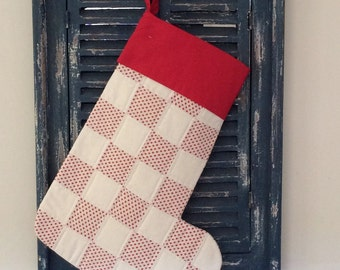 Christmas Stocking  - Quilted Patchwork Christmas Stocking (Red and Cream Stars) - Stocking - Patchwork Stocking - Quilted Stocking