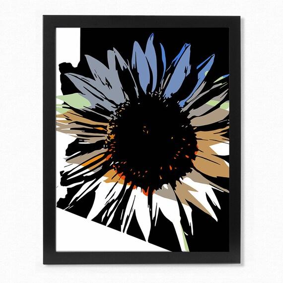 Sunflower print wall art home decor flower print colorful for Sunflower home decor