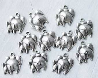 Set of 10, Elephant Mom, Baby Charm, Antique Silver, Unbreakable Bond,  Motherly Love Charm, Zoo Animal Charm, Animal Charm, 0301