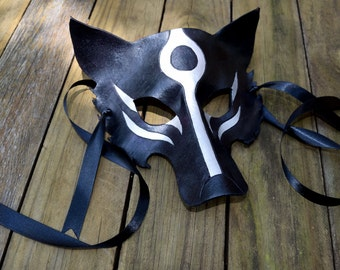 Black and Silver Leather Okami Wolf Mask