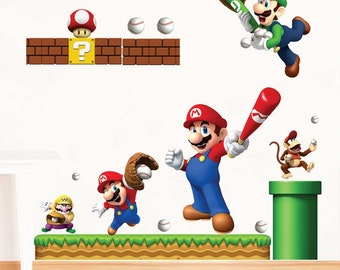 Super Mario Bros Baseball Removable Wall Stickers Decal Kids Home Decor