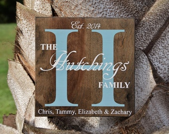 Personalized Custom Name Sign, Family Established Sign. Solid Wood, Hand Painted 1-Sided Sign. Wedding Gift - Options Available!!