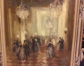 Ballroom Oil Painting Antique