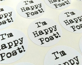 Happy Post stickers - monochrome typewriter style circular stickers for your crafts and parcels