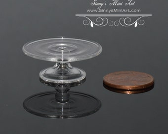 1:12 Dollhouse Miniature Cake Stand, Clear Glass HB260