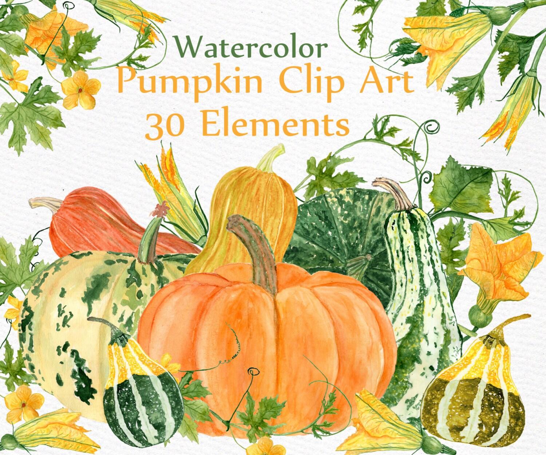 Watercolor clipart Watercolor pumpkin clip art Autumn Clip Art