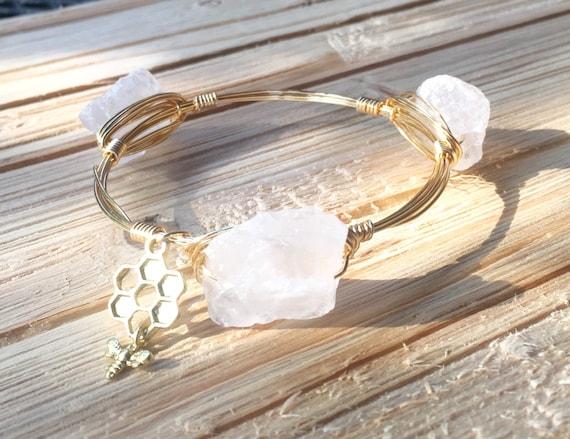 Quartz Bangle, nugget Bangle Bracelet, Wire wrapped bangle bracelet, handmade bangle, 3 stone bangle, chunky bangle bracelet