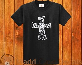 Faith Hope Love Peace Joy Cross Christian T-Shirt 100% Cotton 6 ounce