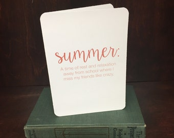 Summer college friends greeting card