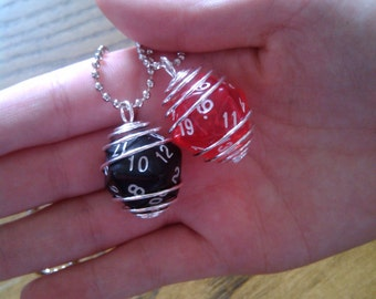 Wire-wrapped D20 necklace