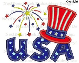 USA embroidery applique,  Sam hat firework Machine Embroidery Design, july-009