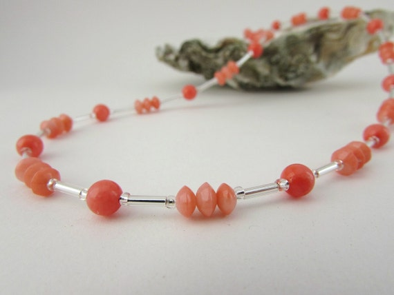 Coral Gifts 35th Wedding Anniversary: Coral Necklace. 35th Anniversary Gift. Coral Necklace Pink