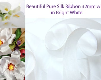5 metres of 32mm Pure Silk Ribbon in Bright White