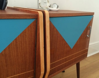 SOLD Bedside cabinets retro midcentury