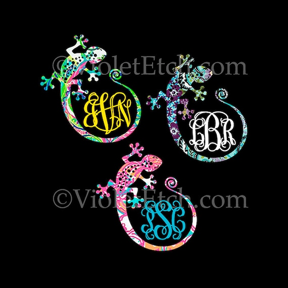 Gecko Monogram Decal-Gecko Decal-Vine Monogram Decal-Yeti Decal-Lilly Inspired-Laptop Decal-Car Window Decal-Tumbler Decal