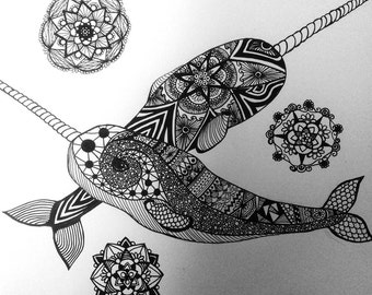 Narwhal Ink Drawing