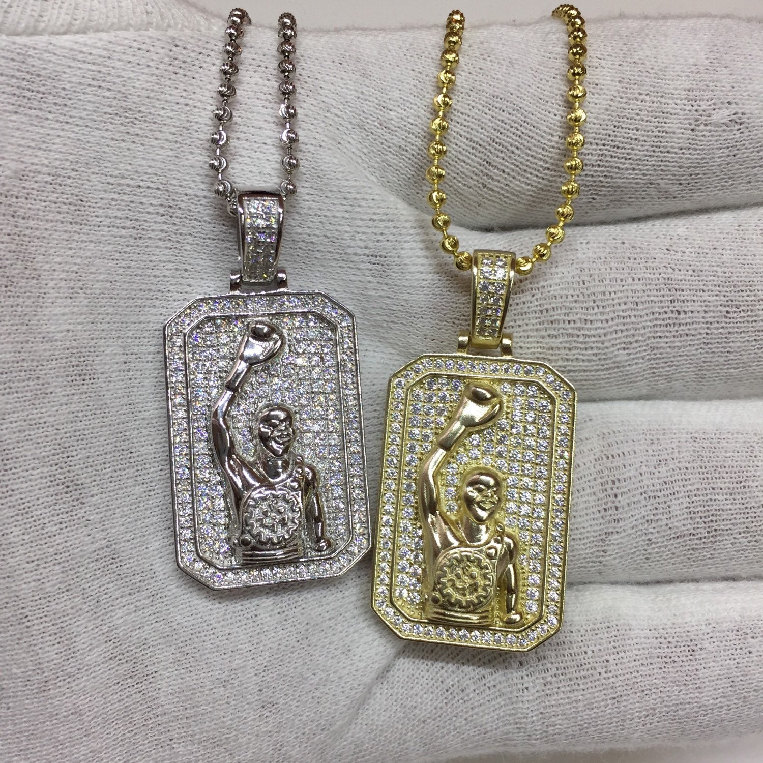 Custom boxing pendant with lab made diamonds by flawlessjewelz for Custom lab made hip hop jewelry