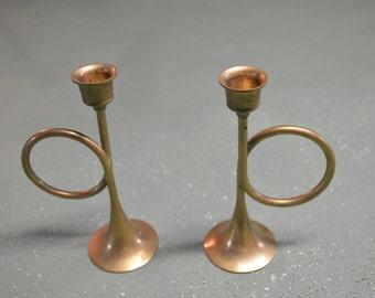 Brass Candle Holder, Bugle Candle Base, Bugle Candle Holders, #344