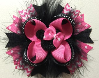 Minnie Mouse Stacked Hair Bow , Disney Minnie Mouse Hair Bow , Minnie Mouse Boutique Hair Bow , Minnie Mouse Hair Clip, Girls Hair Bow