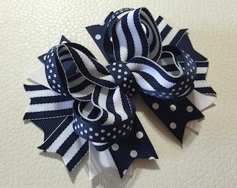 Back to School Hair Bow ,School Uniform Bows , School Bow, Stacked Hair Bow ,White and Navy Hair Bows, Girls Hair Bow