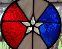 Round Red, White and Blue stained glass Texas Star