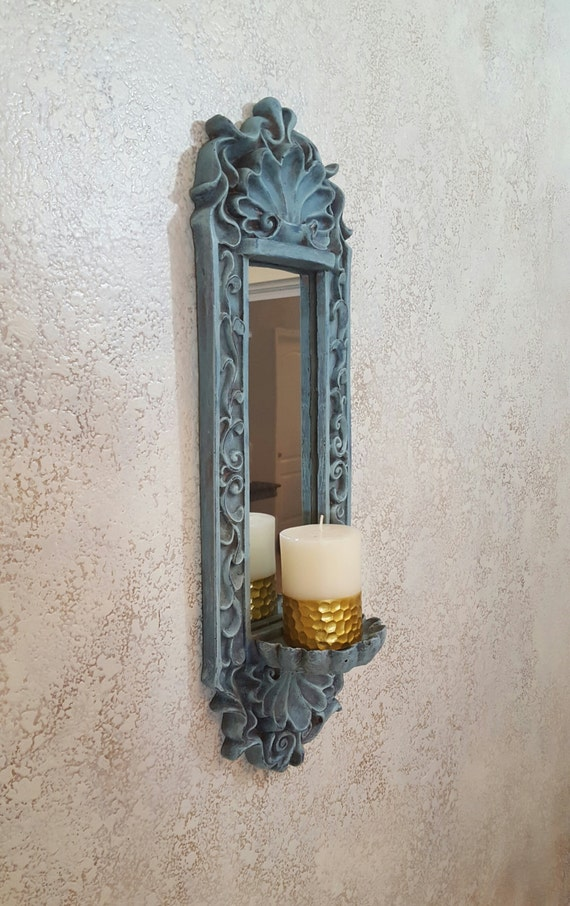 shabby chic candle holder wall sconce with mirror wall. Black Bedroom Furniture Sets. Home Design Ideas