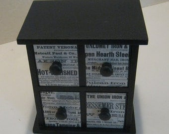 Two-drawer Vintage Jewelry box, Industrial World Newspaper Covered Drawers