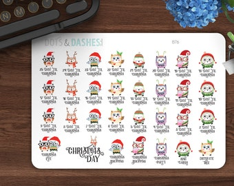 B76, Countdown to Christmas stickers, Countdown to christmas, christmas owls, countdown stickers, happy planner,planner,planner stickers