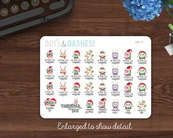B76TT, Teeny Tiny Christmas Countdown, small sticker, itty bitty countdown, count down to christmas, planner stickers, Christmas stickers