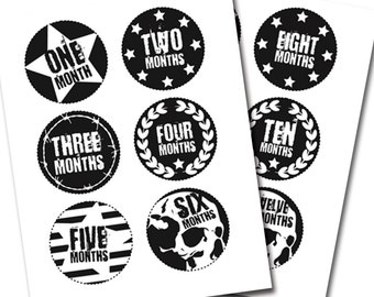 Monthly Baby Milestone Stickers / Baby Boy / Monthly Baby Stickers / Baby Gift / Baby Shower Gift / Black & White Baby Accessories